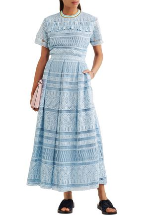 HOUSE OF HOLLAND Heart guipure lace maxi skirt