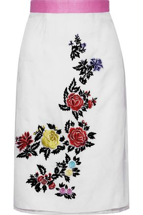 HOUSE OF HOLLAND Heart Breakers embroidered silk-organza skirt