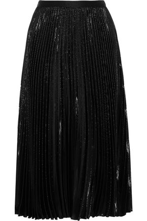 DIANE VON FURSTENBERG Heavyn pleated metallic crepe skirt