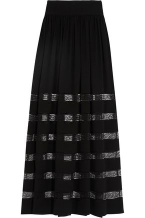 MICHAEL KORS COLLECTION Lace-paneled gathered silk maxi skirt