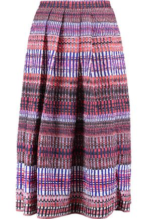 SALONI Naomi pleated printed cloqué midi skirt