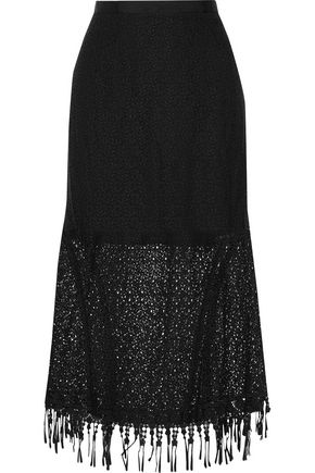 SALONI Bibi embroidered guipure lace cotton midi skirt