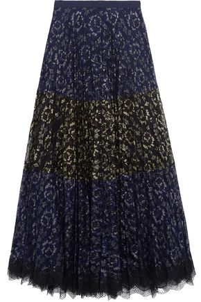 SALONI Karen paneled metallic lace maxi skirt