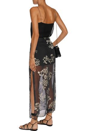 HAUTE HIPPIE Metallic burnout chiffon midi skirt