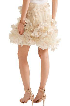 REEM ACRA  New York Floral-appliquéd organza mini skirt