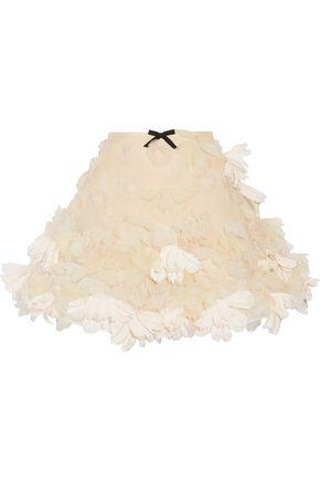 REEM ACRA Floral-appliquéd organza mini skirt