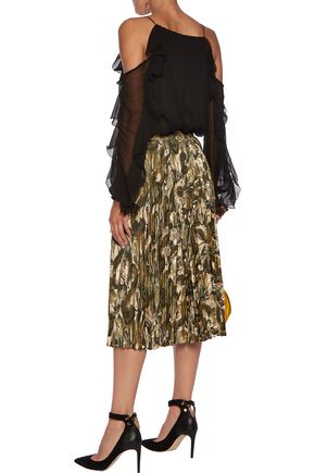 HAUTE HIPPIE Sunburst metallic pleated fil coupé midi skirt