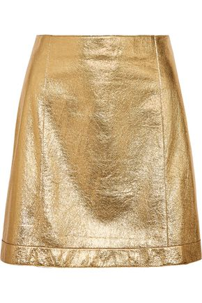 THEORY Metallic leather mini skirt