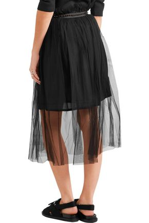 MOTHER OF PEARL Delphia embellished tulle midi skirt