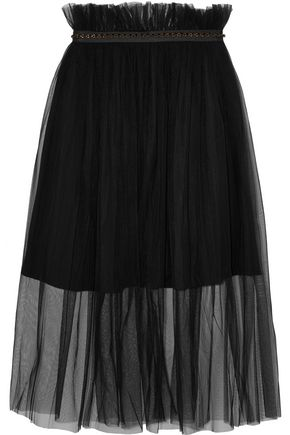 MOTHER OF PEARL Delphia embellished tulle midi skirt