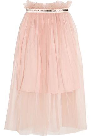 MOTHER OF PEARL Ursula embellished tulle midi skirt