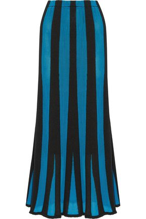 ADAM LIPPES Fluted paneled terry and open-knit midi skirt