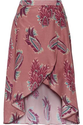 VIX PAULA HERMANNY Printed cotton and silk-blend midi skirt