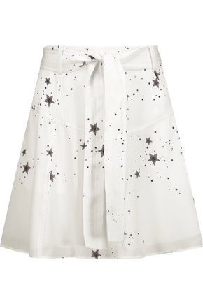 A.L.C. Jilian belted printed silk crepe de chine mini skirt