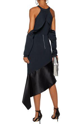 DION LEE Asymmetric silk satin-paneled stretch-cady midi skirt