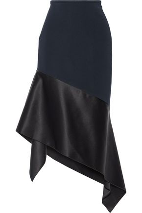 DION LEE Asymmetric silk satin-paneled stretch-cady midi skirt
