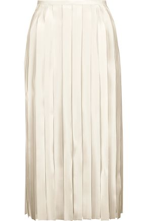 DION LEE Pleated silk-satin and georgette midi skirt
