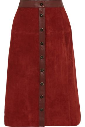 VANESSA SEWARD Leather-trimmed suede skirt