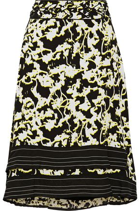 PROENZA SCHOULER Asymmetric lattice-trimmed printed silk-chiffon skirt