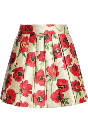 ALICE + OLIVIA Pleated floral-print twill mini skirt