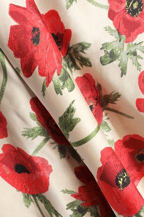 ALICE + OLIVIA Flared floral-print satin-twill mini skirt