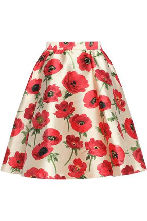 ALICE + OLIVIA Flared floral-print satin-twill mini skirt