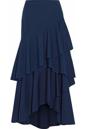 ALICE + OLIVIA Asymmetric ruffled tiered cotton midi skirt