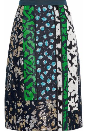 OSCAR DE LA RENTA Metallic paneled cotton-blend brocade skirt