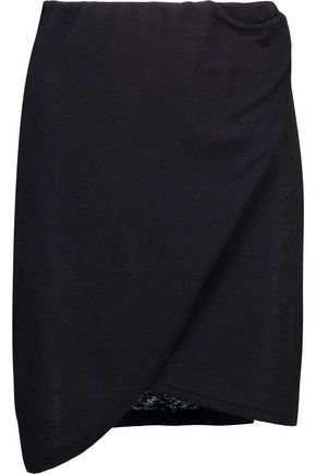 IRO Wrap-effect ribbed-knit mini skirt