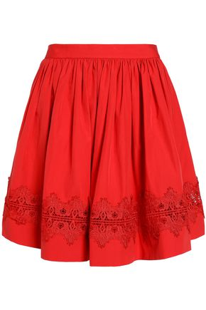 ALICE+OLIVIA Lace-trimmed gathered cotton-poplin mini skirt