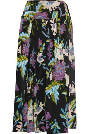 DIANE VON FURSTENBERG Pleated printed silk crepe de chine midi skirt