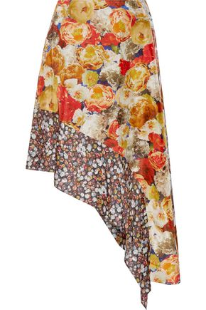 ACNE STUDIOS Pamsan asymmetric floral-print silk-satin skirt