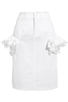 PREEN by THORNTON BREGAZZI Leena lace-trimmed denim skirt