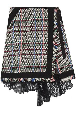 SACAI Corded lace and twill-trimmed tweed wrap-effect skirt