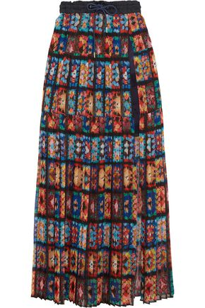 SACAI Shell and lace-trimmed pleated printed chiffon maxi skirt