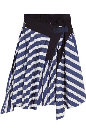 SACAI Cole asymmetric pleated striped cotton skirt