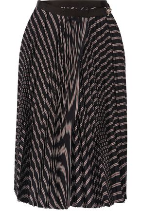 SACAI Pleated striped twill wrap skirt