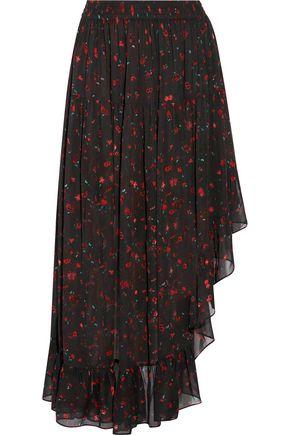 IRO Jonel asymmetric ruffled printed georgette midi skirt