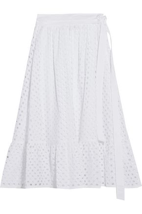 TORY BURCH Ruffled broderie anglaise cotton midi skirt