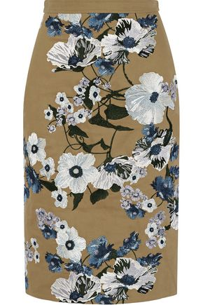 ERDEM Aysha embroidered cotton-canvas skirt