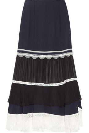 JONATHAN SIMKHAI Chiffon-paneled lace-trimmed silk-crepe midi skirt