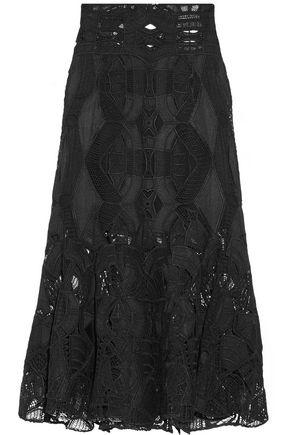 JONATHAN SIMKHAI Fluted guipure lace midi skirt