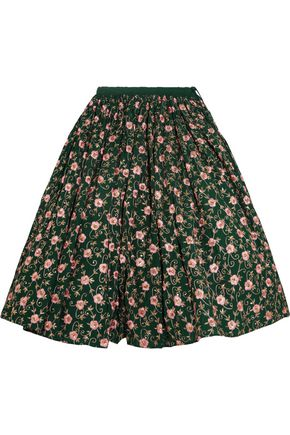ASHISH Embellished embroidered cotton midi skirt