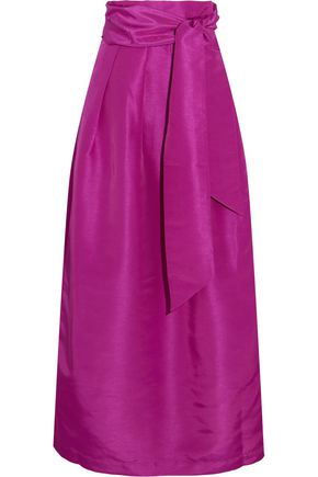 PAPER London Miller pleated faille maxi skirt