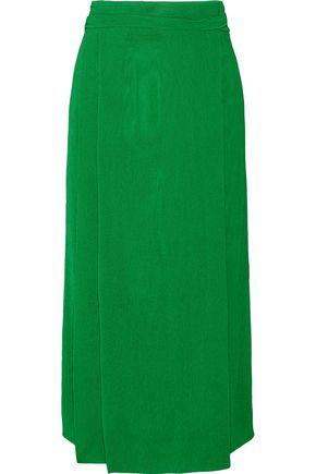 PROTAGONIST Plissé-crepe wrap-effect midi skirt