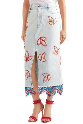 PETER PILOTTO Lace-trimmed embellished denim midi skirt