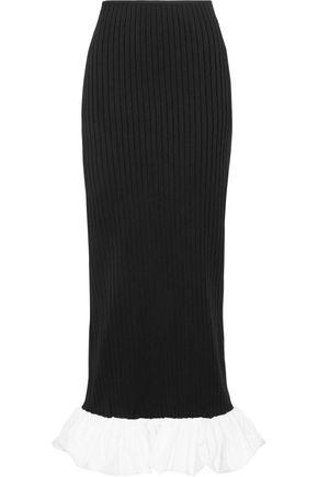 •ELLERY• Misaki poplin-trimmed ribbed-knit maxi skirt