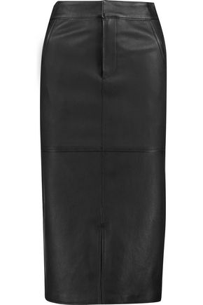 ALICE + OLIVIA Valeri leather midi skirt