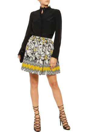 ALICE + OLIVIA Tania pleated cotton-blend jacquard mini skirt
