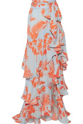 JOHANNA ORTIZ Costa Pacifica printed silk-georgette maxi skirt